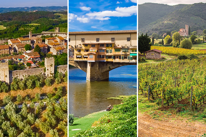 Italy - Prebookable Package - San Gimignano, Badia Isola and Monteriggione including Dinner / Explore Florence / Siena and Montalcino