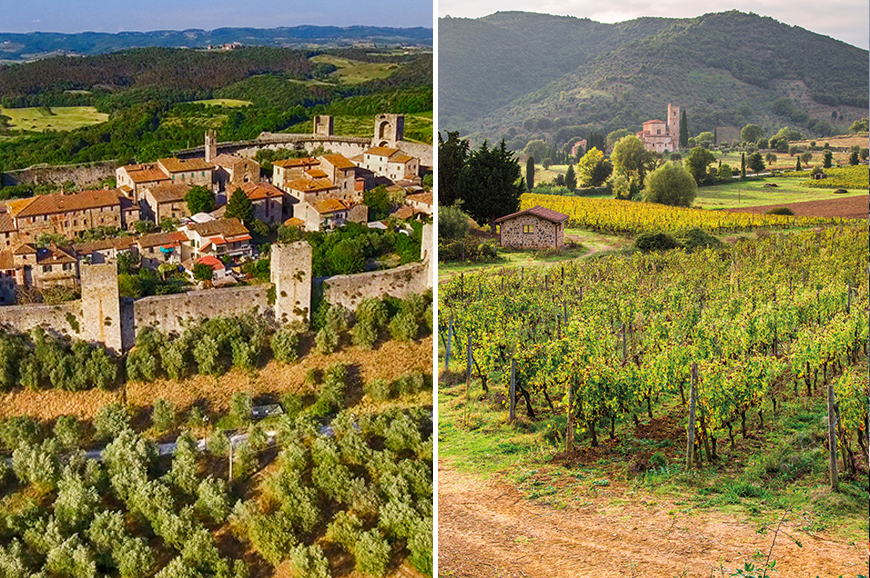 Italy - Prebookable Package - San Gimignano, Monteriggioni and Abbadia a Isola including dinner / Medieval Montalcino and Siena
