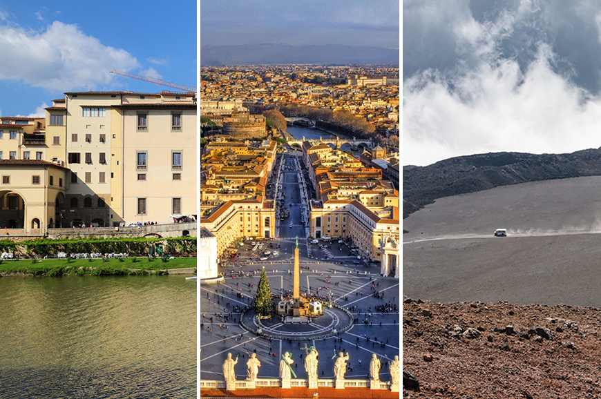 Italy - Prebookable Package - Guided Skip the Line entry to the Uffizi Gallery Museum in Florence / Guided Skip the line entrance to Vatican Museum and the Sistine Chapel in Rome / Sicily - Discover Mount Etna by Cable Car and Jeep