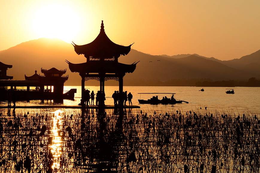 Pavilion at Sunset, Hangzhou