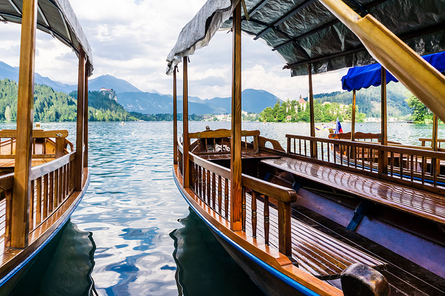 Plenta boats on Lake Bled