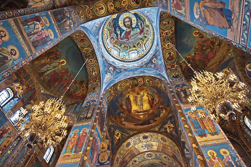 Interior of Church on Spilled Blood, St Petersburg
