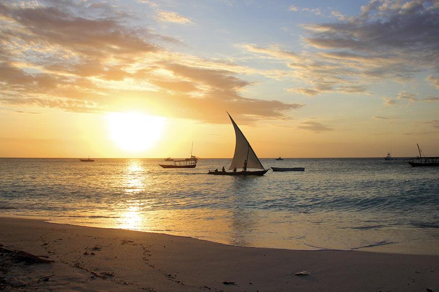 Dhow at sunset, Zanzibar