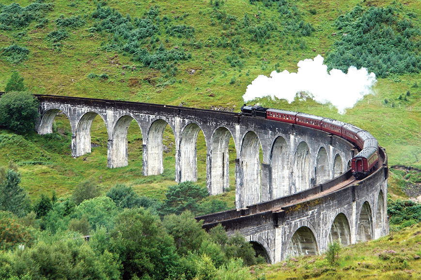 The Jacobite Steam Train at Glenfinnan viaduct