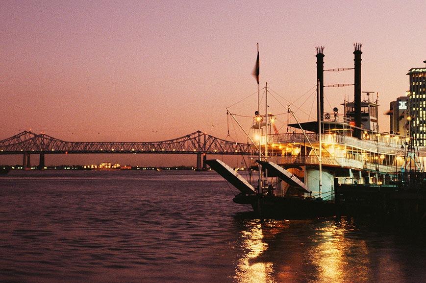 Paddle steamer at night